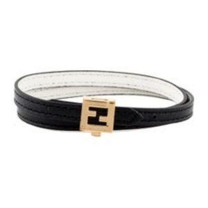 FENDI Leather Wrap Logo Bracelet
